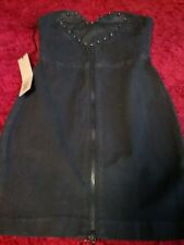 ksubi Dark Denim Paint Splattered Zip Heart Dress W/ Studs Size XS
