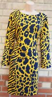 NEXT YELLOW BLUE ANIMAL ZEBRA PRINT LONG SLEEVE BAGGY SHIFT TUNIC DRESS 10 S