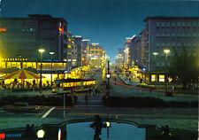 AK, Mannheim, Blick auf die Planken bei Nacht, Straßenbahn, um 1976