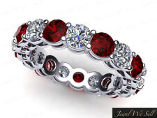3.80Ct Round Ruby Diamond Shared Prong Gallery Eternity Band Ring 10k Gold GH I1