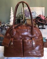 Dooney Bourke Florentine Vachetta Leather Zip Zip Satchel Bag Chestnut Zebra