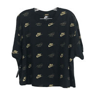 NIKE Metallic Logo Print Cropped T-Shirt Black Gold, Women's Size 2X NEW