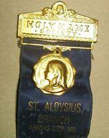 Vintage 1923 Holy Name Society Ribbon,Medal,St. Aloysius, Kansas City, Missouri