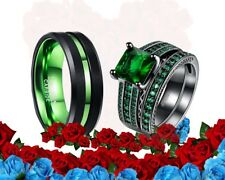 His tungsten and Her CZ green black plated Wedding bands Engagement Ring Set