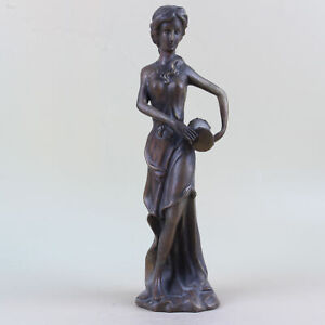 Chinese Vintage Brass Beautiful Woman Hand Hold Drum Statue Ornaments  TH004