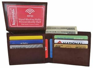 Bifold Men's RFID Blocking Genuine Leather Credit Card ID Wallet