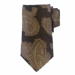 Byblos 100%Silk Beige Black Paisleys Neck Tie Necktie