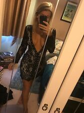 Size 10 Dress Me Zara Black Nude Sheer Lace Low Cut Bodycon Tight Mini Dress BNW