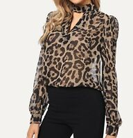 Long Sleeve Choker Neck V-Neck Leopard Elegant Blouse Top Casual Work
