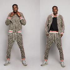 Men's Leopard Track Suit Set with Waistband Track Pants&Jacket   S~5XL     ST567