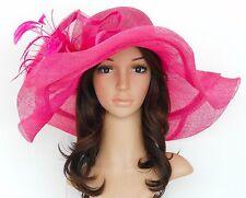 New Church Kentucky Derby Wedding Sinamay Wide Brim Dress Hat cc2963 Hot Pink
