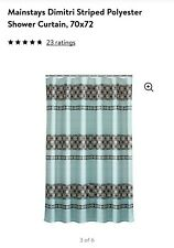 Mainstays Dimitri Shower Curtain And Rings Turquoise