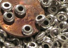 200 Rounded Metal Heishi/ Disks Spacer Beads- 4mm- Silvertone Colored Zinc Alloy