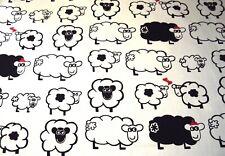 "Good Quality Back & White  Novelty Sheep Fabric 54"" Wide"
