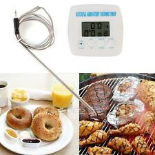 Digital LCD Food Meat Alarm Probe Oven Thermometer Kitchen Timer Cooking Clock