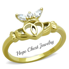 HCJ GOLD TONE STAINLESS STEEL LITTLE CROWN CZ CLADDAGH RING SIZE 9