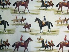 MARSONS DERBY COTTON PRINT HORSE RACING DOUBLE WIDTH EXTRA WIDE CURTAIN FABRIC