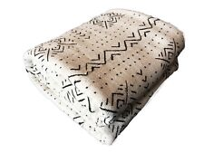 "African  LG Black & White Cotton Mud Cloth Textile/Blanket  Mali 90"" by 66"""