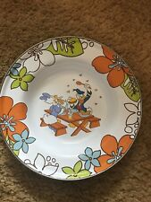 "Disney 8"" Enamelware Bowl Plate Donald Daisy Duck Picnic Swatting Flies FREE SH."