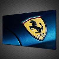 DARK BLUE FERRARI LOGO CAR MODERN CANVAS PRINT WALL ART PICTURE PHOTO