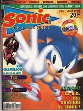 SONIC MAG N° 1 AVRIL 1994 / RETROGAMING JEUX VIDEO NINTENDO SEGA