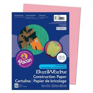 """SunWorks Construction Paper, Pink, 9"""" x 12"""", 50 Sheets 50-Count, Pink"""