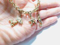 Gold Tone Metal Beach Charm Chain Bracelet Vintage