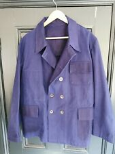 Vintage Inspired Blue Cotton Drill Double Breasted Jacket Size 44