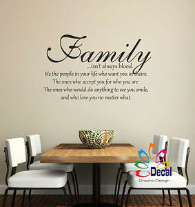 Family Isn't Always Blood... Wall Decor Decal Sticker Lettering Words Quote Q331