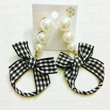 New Gingham Ribbon Pearl Style Earring