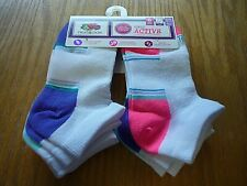6 pack Assorted Colorful Girls Low Cut Fruit of the Loom socks size 10.5-4