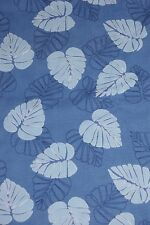 "VINTAGE 4 YDS & 32"" TROPICAL LEAF PRINT COTTON FABRIC TEXTURED BLUE"