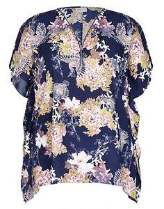 Plus Sizes Relax Fit Oriental Zip Neck Kaftan / Tunic-Navy Blue Size 18.