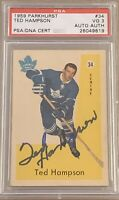 1959 1960 PARKHURST Ted Hampson  AUTO PSA 3 DNA RC ROOKIE #34 AUTOGRAPH SIGNED