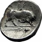 Thourioi Lucania 350BC Athena Bull Thyrsos RARE Ancient Silver Greek Coin i58960