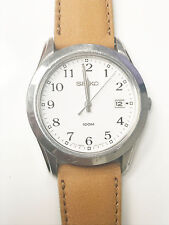 Seiko Original Analog 3 Hands 100m White Dial Camel Brown Leather Band Watch