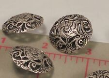 5 Fine Italian Metal Shank Buttons Flowing Floral Filigree Large Matte Silver 1""