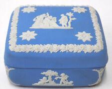 Square Blue Jasperware Wedgwood Trinket Cigarette Box Cherubs Lyre Player