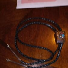 NAVAJO STERLING TURQUOISE CORAL LEATHER BOLO TIE SIGNED SPENCER STERLING