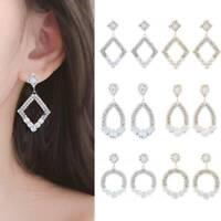 Luxury Women White Sapphire Hoop Drop Dangle 925 Silver,Gold Earrings Jewelry