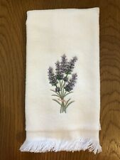 Embroidered Fingertip Towel with Lavender Design on 100% Cotton Velour Terry
