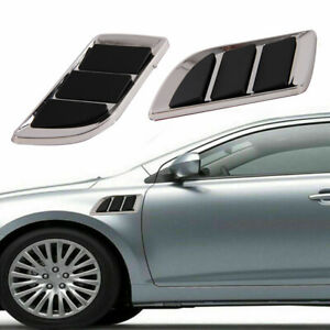 2pcs Chrome Car Front Hood Scoop Bonnet Air Intake Flow Side Fender Vents Covers