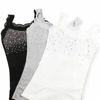 Women's Rhinestone Sequin Lace Tanks Top High Quality Cotton Camisole Sleeveless