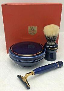 Vintage Rooney Brushes London Blue Porcelain Shave Brush Soap Bowl Razor Set
