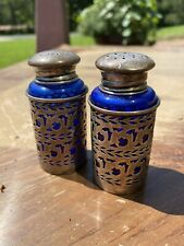 Sterling Silver And Cobalt Blue Glass Salt And Pepper Shakers