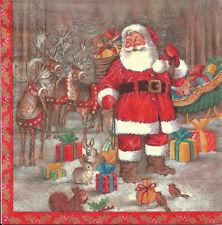 Lot de 4 Serviettes en papier Père Noël Rennes Decoupage Collage Decopatch