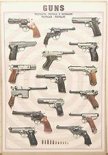 (PRL) 1990 PISTOLE REVOLVER GUNS PISTOLEN PISTOLETS VINTAGE AFFICHE POSTER PRINT