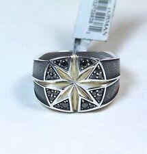 New David Yurman Men's North Star Black Diamond Cushion Signet Ring Sz 11 $975