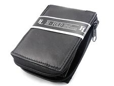 Mens Genuine Leather Bifold Zipper Zip Around Wallet Black Window ID Credit Card