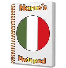 Italie Drapeau Italien Personnalisé - A5 Bloc-Notes Carnet Cadeau - Tout Nom